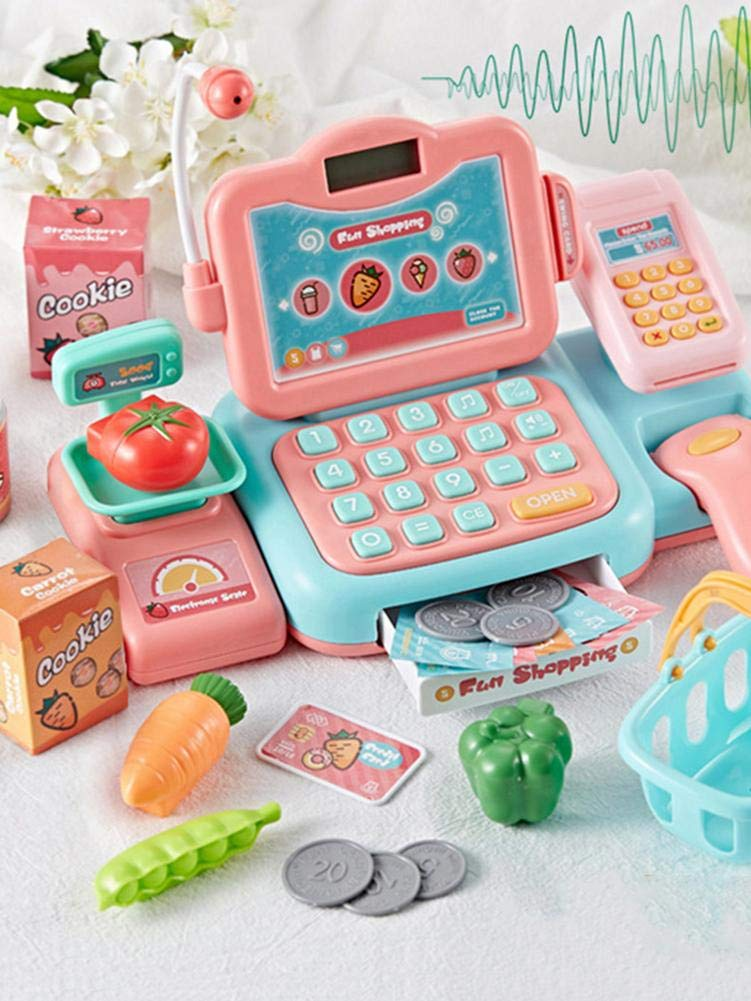 Musik pegtopone Elektronische Kasse Spielzeug Supermarkt Registrierkasse Cash Register Toy Mit Scanner Spielkasse Rollenspiel F/ür Kinder Mikrofon Pink Taschenrechner Sound