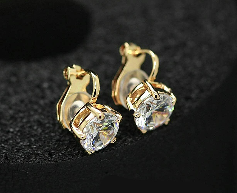 Cubic Zirconia Clip On Gold Stud Earrings,1.5 Carat//8mm Round Cut Simulated Diamond CZ Stud Earrings