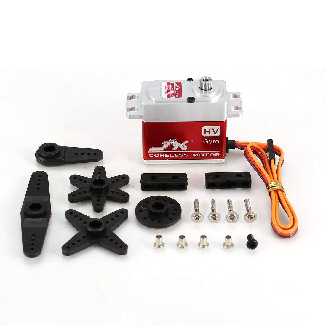JX PDI-HV7207MG 7KG Dirección metálica de Metal, Engranaje Digital, servo Digital sin núcleo con Alto Voltaje de Torque de Alta tensión para el Robot de Coche RC - Negro y Plata