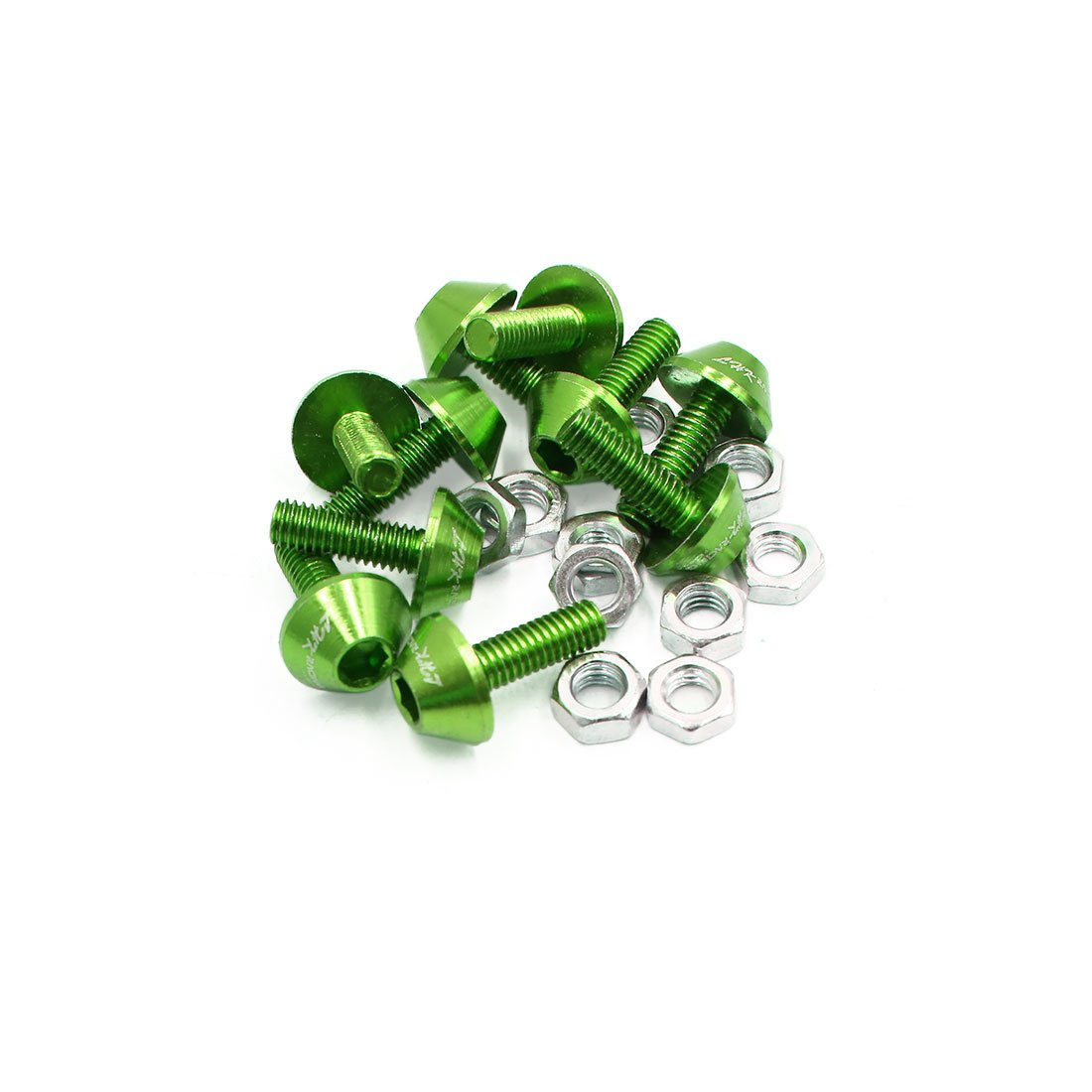 Uxcell a17061900ux1499 10Pcs 6mm Dia Aluminum Alloy Hex Socket Head Motorcycle Bolts Screws Nuts Green, 10 Pack