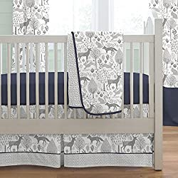Carousel Designs Navy and Gray Woodland Boy's 3-Piece Crib Bedding Set