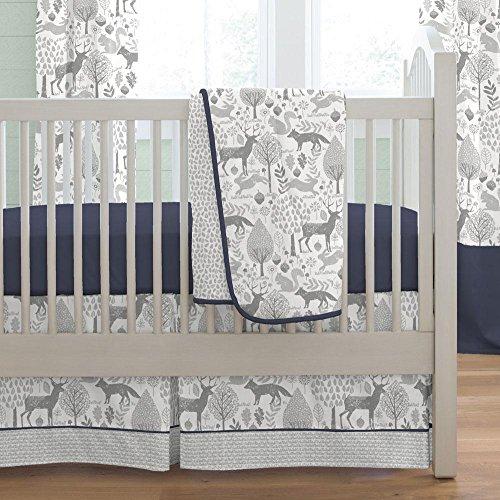 Carousel Navy and Gray Woodland 3-Piece Crib Bedding Set