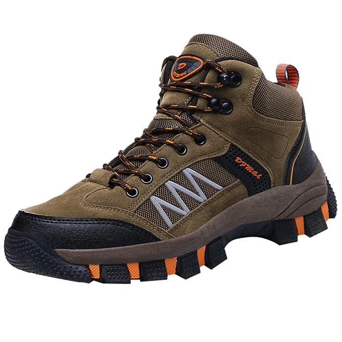 Zapatillas de Senderismo para Hombre ZARLLE Calzado de Senderismo y multifunción para Hombre Leather Lace-