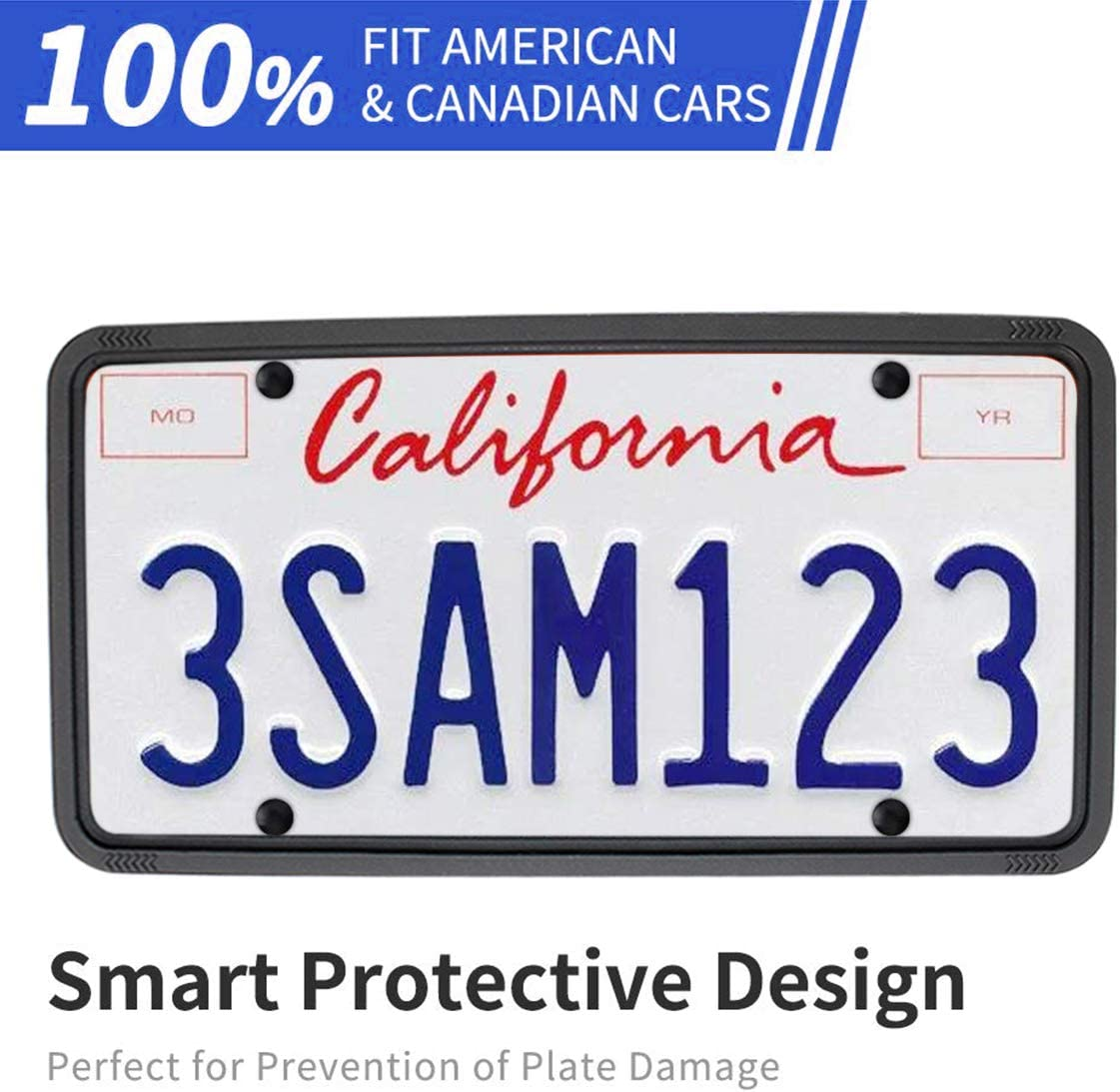 Gray wesport Silicone License Plate Frames Universal Applicable to US Standard Cars Rattle-Proof Weather-Proof License Plate Covers Holders