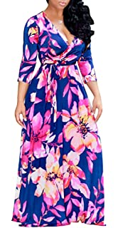Farktop Womens V Neck Long Sleeves Digital Graffiti Printed Prom Party Maxi Long Dress with Belt