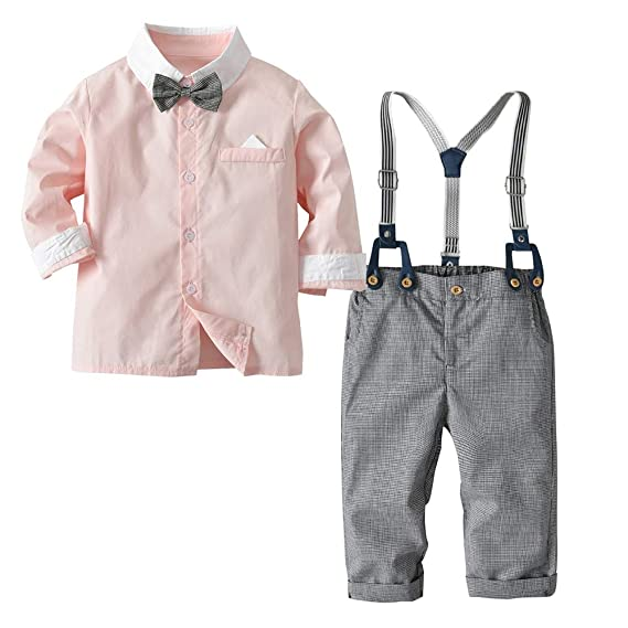 ce2343d51b Si Noir by Hopscotch Boys Poly Cotton Solid Applique Bow Shirt and  Suspender Pant in Pink