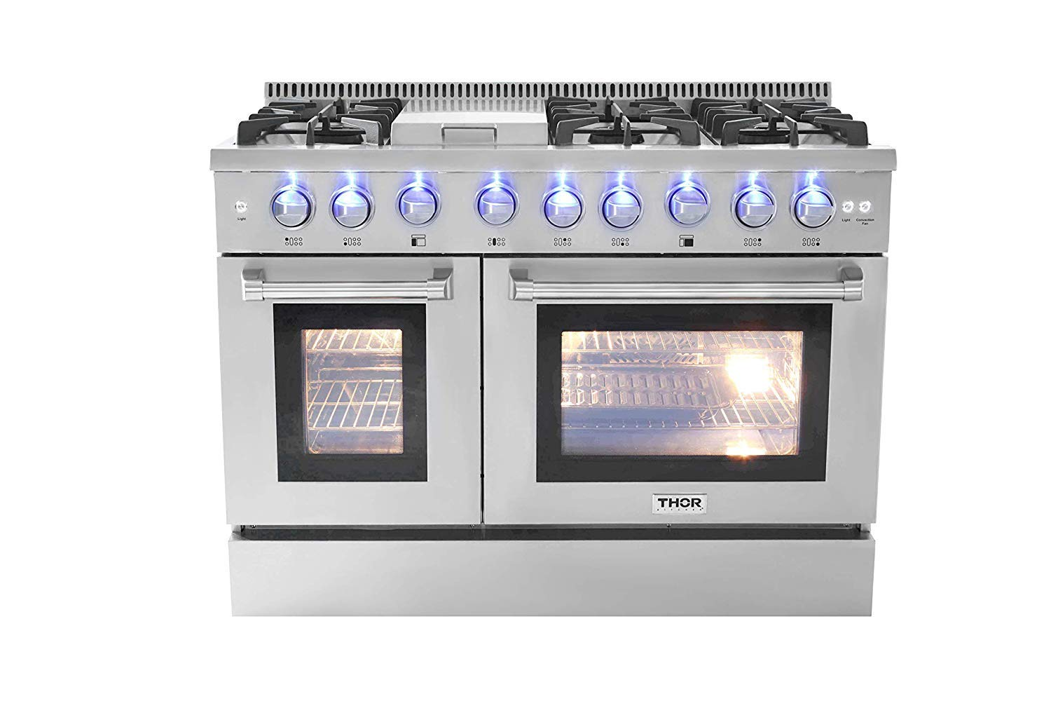 """Thor Kitchen 48"""" Freestanding Gas Range with 5.2 cu. ft. Double Electric Convection Oven - with 6 Burners, Griddle, Convection Fan - Stainless Steel"""