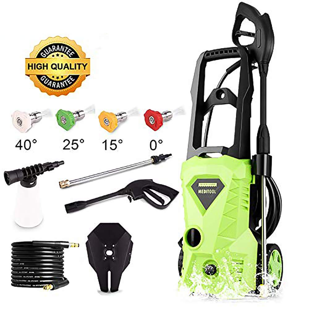 Tagorine Electric Pressure Washer, Power Washer with 2600 PSI,1.6GPM, 4 Nozzle Adapter, Longer Cables and Hoses and Detergent Tank,for Cleaning Cars, Houses Driveways, Patios,and More