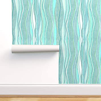 Spoonflower Peel And Stick Removable Wallpaper Dots Waves Aqua Sea Green White Modern Home Shapes Seaweed Aloha Ocean Marine Blue Turquoise Print Self Adhesive Wallpaper 12in X 24in Test Swatch Amazon Com