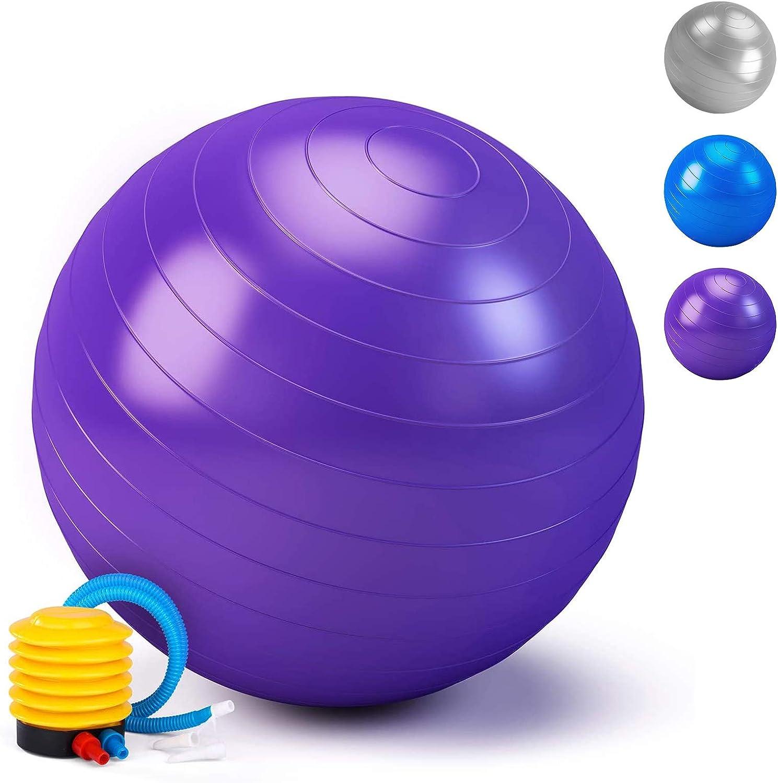 HebyTinco Pelota de pilates, pelota de gimnasia, pelota de yoga para adultos, pelota gruesa de gimnasia, incluye bomba de pelota, para yoga, nacimiento, embarazo, pilates, fortalecimiento del tronco,