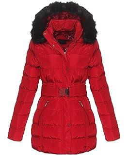 OSAB-Fashion 5075 Damen Steppjacke Steppmantel Winter Jacke Stehkragen Kapuze  Webpelz Gürtel ace584a593
