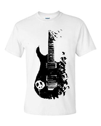 c6028e0dfdbc Band Guitar T Shirt Banksy Metal Peace Music Crow Goth Tattoo Tee Gift Top  2 Colour: Amazon.co.uk: Clothing