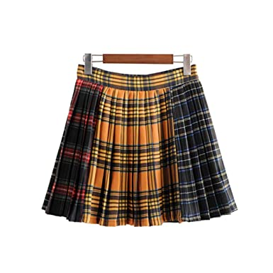 4e09d23c241807 Women Stylish Plaid Pleated Skirt Side Zipper Design Vintage Casual  Streetwear Mini Skirts as picture S