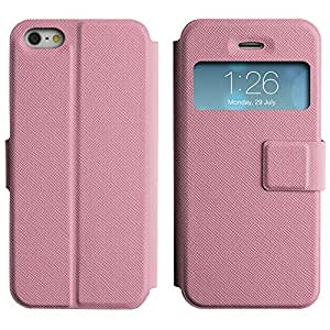Be-Star Diseño Impreso Colorido Slim Casa Carcasa Funda Case PU Cuero - Stand Function para Apple iPhone 5 / 5S ( Pink Dots )