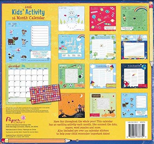 Kids Calendar With Activity Stickers : Paper craft activity calendar month
