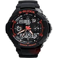 Nimble House ® ™PRECIOUS FRIENDS GIFT Red Watch Sport Quartz dual time digital analog Waterproof Military Wristwatches LED Relogio Masculino