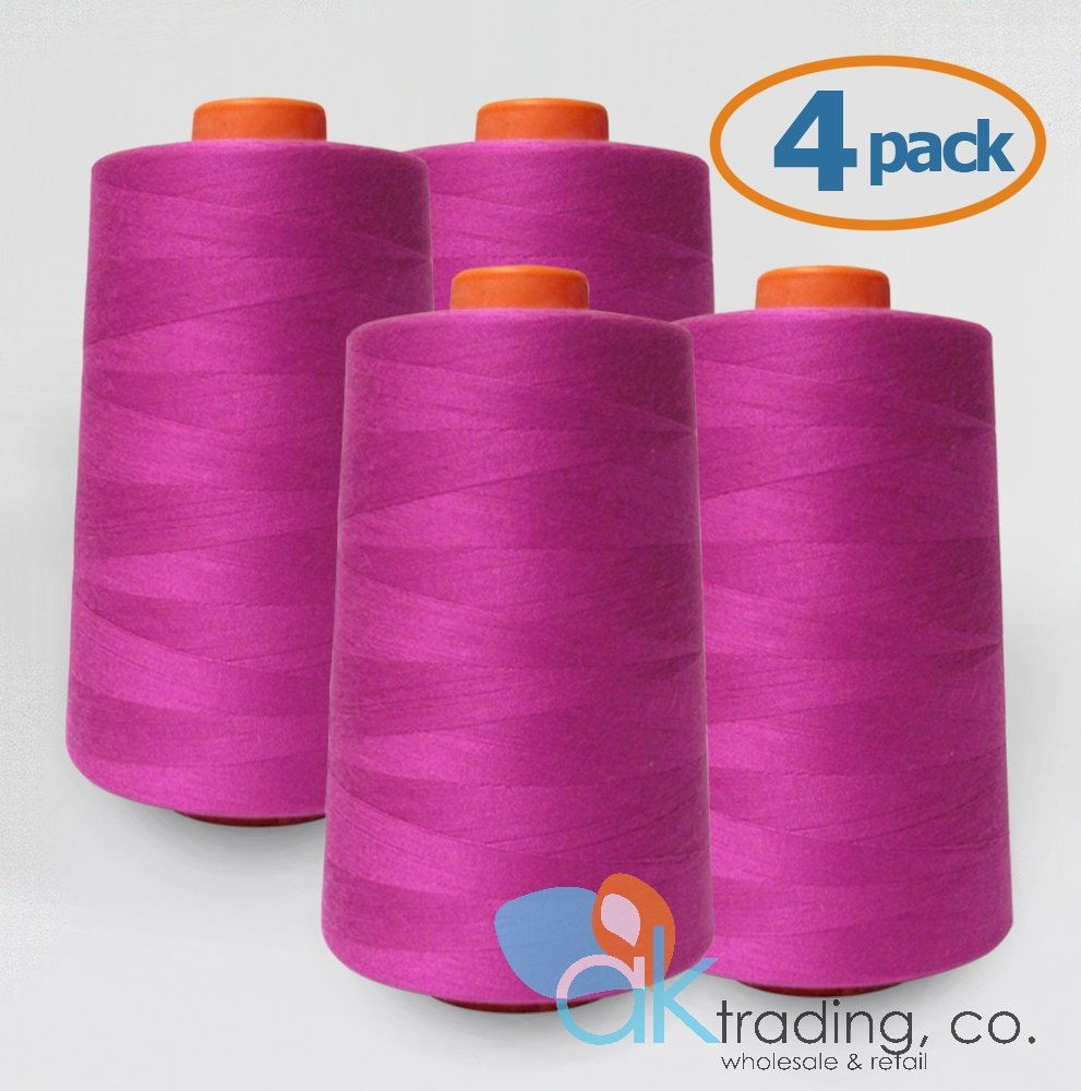 AK-Trading 4-Pack MAGENTA Serger Cone Thread (6000 yards each) of Polyester thread for Sewing, Quilting, Serger #842 AK TRADING CO.