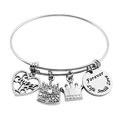 9c1700edf Birthday Gifts for Her Stainless Steel Adjustable Bangle 13th 21st 40th 50th  (16th birthday): Amazon.co.uk: Jewellery