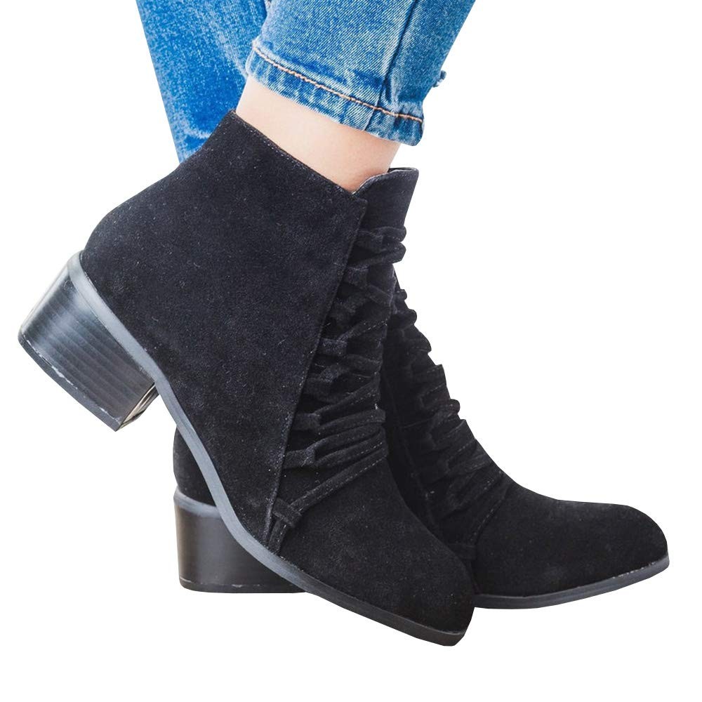 Puwany Womens Crisscross Suede Ankle Booties Chunky Heels Round Toe Side Zipper Boots by Puwany (Image #1)