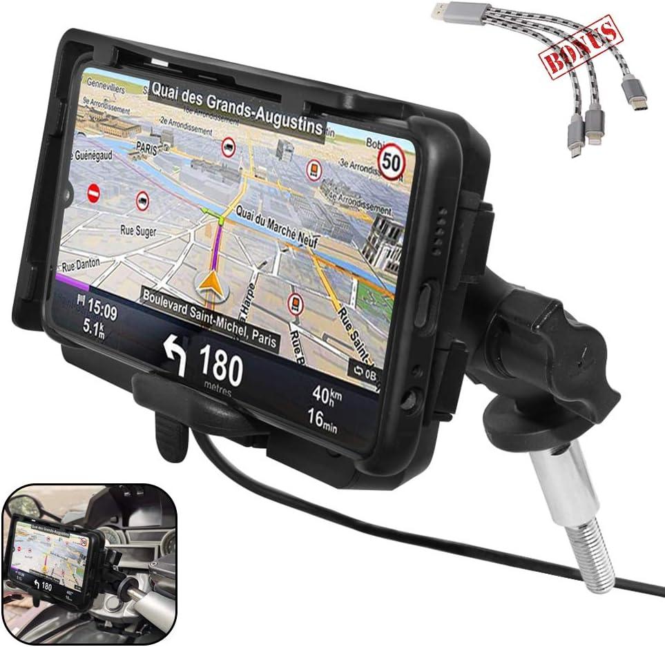 GUAIMI Universal Soporte de navegación para teléfono móvil de la motocicleta Soporte de fijación del manillar original con cargador rápido USB para B-M-W K1600GT K1600GTL R1200RT R1200RT LC R1250RT