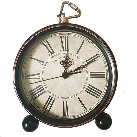 Lambtown Horloge De Bureau Vintage Rétro Horloge Réveil Silencieux Non Coutil Pour La Maison Décorative