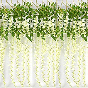 Timoo 12 Pcs 3.6 ft/pcs Artificial Wisteria Flower, Fake Silk Flower Hanging Garland Vine for Wedding Ceremony, Party, Backdrop, Garden, Arch Wall Decorations (White) 111