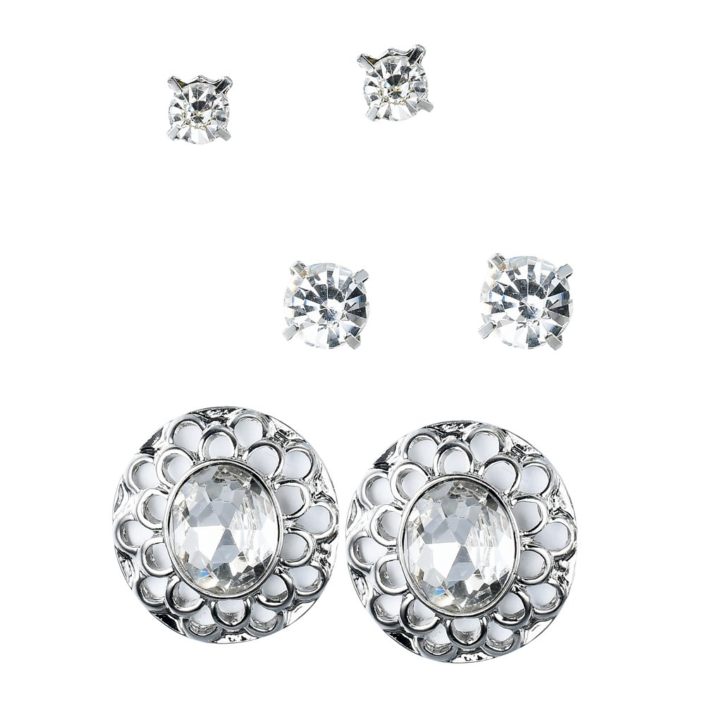 Vintage Mom Renaissance Filigree Faux Diamond Silver Tone Crystal By JADA Collections Stud Earrings Set 3 Pairs