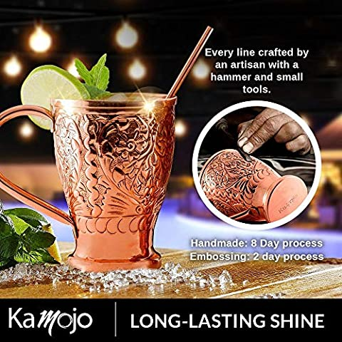 Moscow Mule Pure Copper Mugs with Copper Straws/Stir Sticks. Kamojo Embossed Set