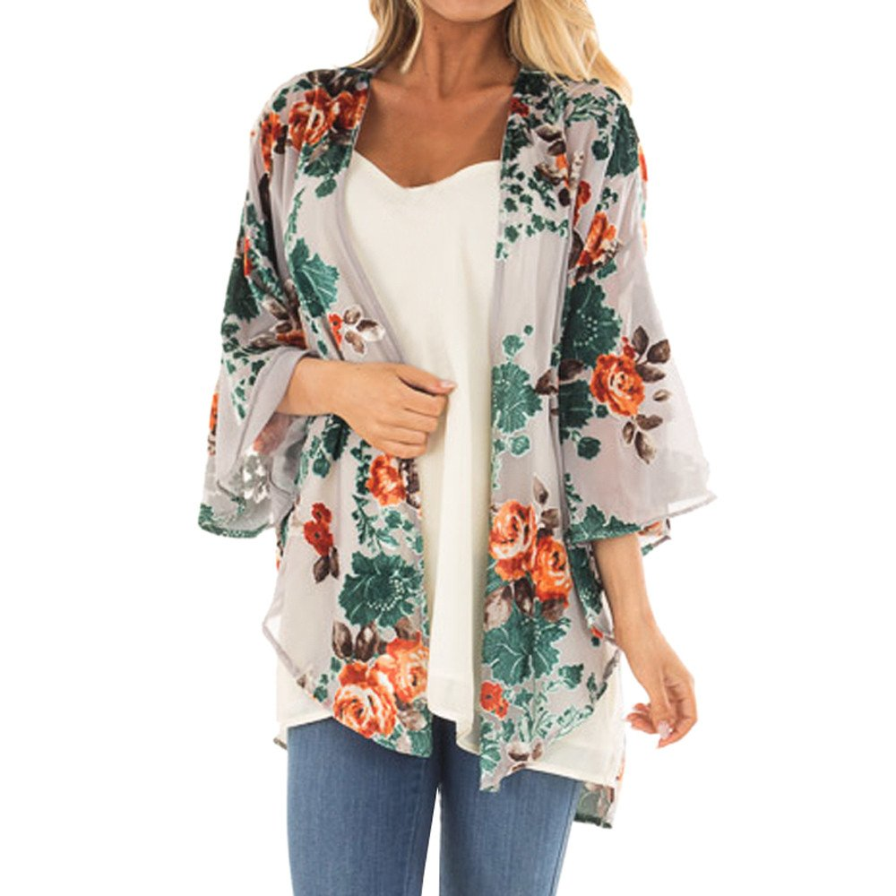 Women Beachwear Light Floral Print Chiffon Kimono Cardigan Cover up Blouse Tops Sheer Loose Cardigan Capes nanzhushangmao