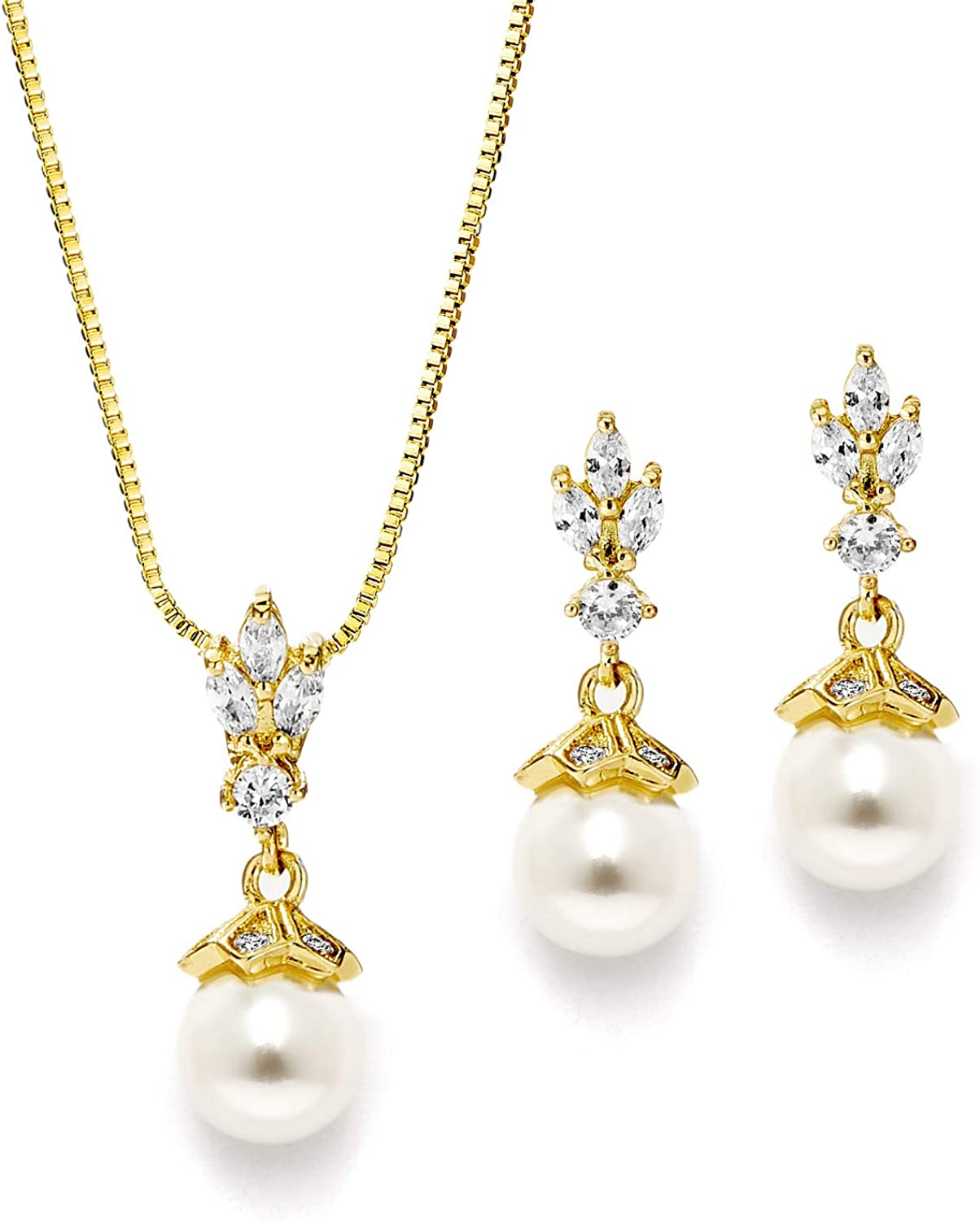 Vintage CZ Cubic Zirconia Pave and Pearl Drops Necklace and Earrings Bridal Jewelry Wedding Set