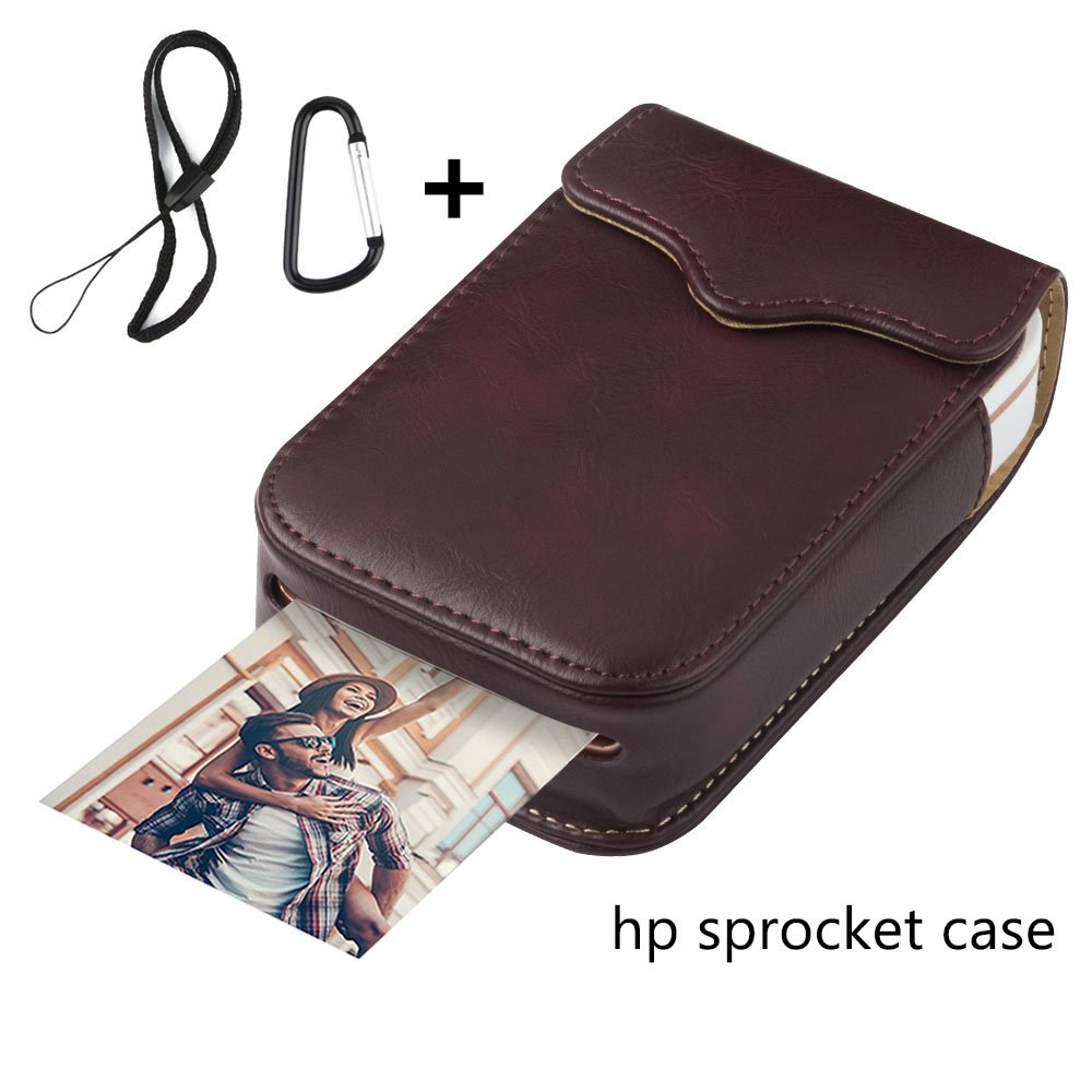 Portable Case for HP Sprocket Portable Photo Printer, PU Leather,Shockproof,a Keychain and a Rope for Carrying Your HP Sprocket Portable Photo Printer and Paper Bag,Wine