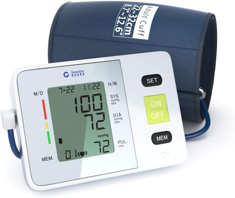 Clinical Automatic Upper Arm Blood Pressure Monitor – Accurate, FDA Approved – Adjustable Cuff, Large Screen Display, Portable Case – Irregular Heartbeat Hypertension Detector by Generation Guard