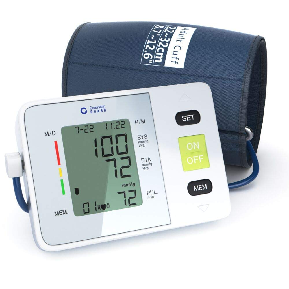 Clinical Automatic Upper Arm Blood Pressure Monitor - Accurate, FDA Approved - Adjustable Cuff, Large Screen Display, Portable Case - Irregular Heartbeat & Hypertension Detector by Generation Guard by Generation Guard