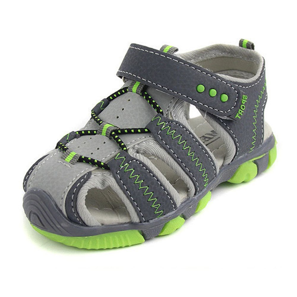 SOFMUO Boys Sport Sandals, Kids Closed Toe Summer Outdoor Casual Shoes(Toddler/Little Kid) A-Gray,26