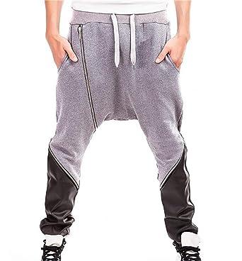 Huateng Casuales para Hombre Harem PU Costura Pantalones De ...