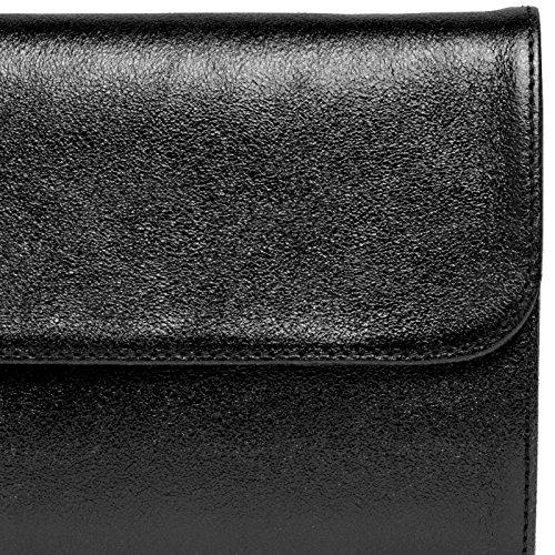 Ladies Made CASPAR of Evening Long Genuine Elegant Bag Metallic Leather Black Envelope Clutch TL779 UUzAqwE