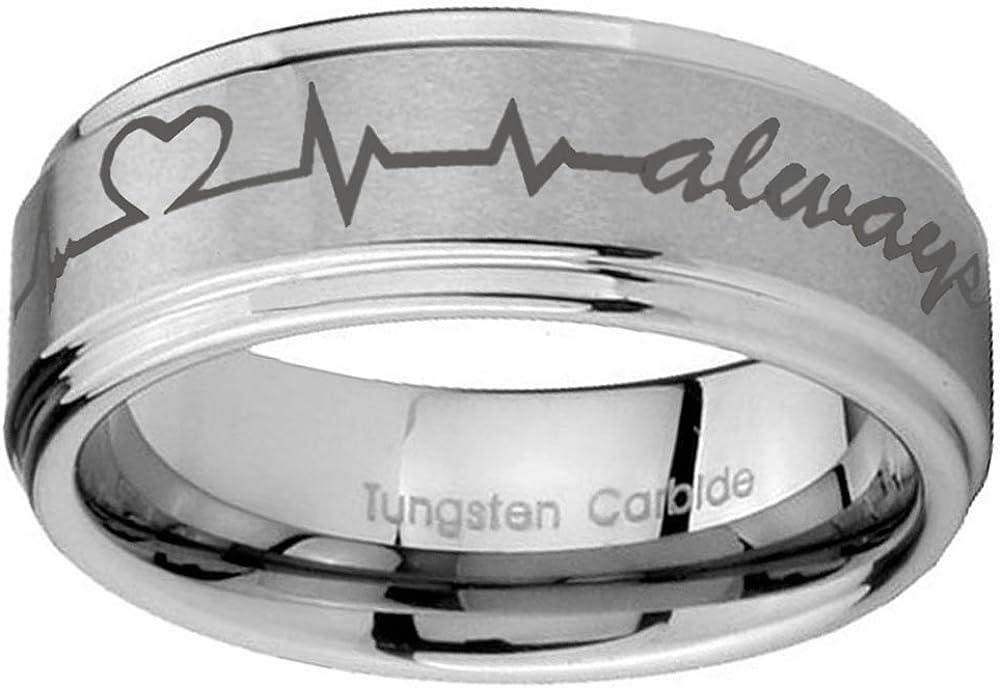 anntungsten Tungsten Carbide Step Edges Heart Beat Forever /& Always Ring 10mm Size 7