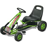 vidaXL Kart Pedales Ajustable Niños Verde Coche Cart