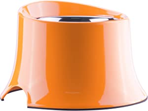 Super Design Elevated Dog Bowl Raised Dog Feeder for Food and Water, Non Spill Edges & Non Skid Sturdy Melamine Stand, Reduce Neck Stress, Less Regurgitating and Vomiting 4 Cup Orange