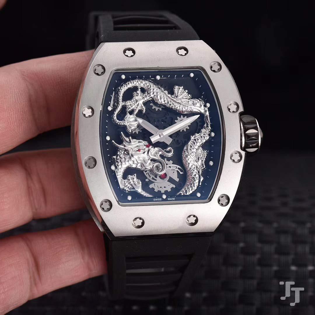 JFfactory ny svart blå röd gummi silver män klocka safir automatisk mekanisk drake turbillion skelett begränsad klocka Svart