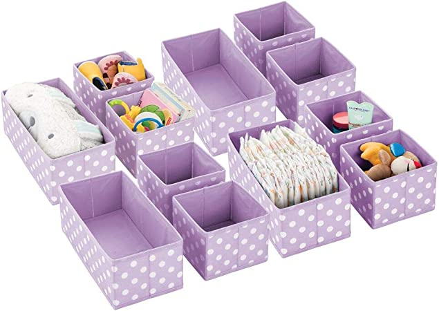 mDesign Juego de 12 Cajas de almacenaje para habitación Infantil, baño, etc. – Cestas organizadoras de Lunares – 12 organizadores de armarios de Fibra sintética en Dos tamaños – Violeta/Blanco: Amazon.es: Hogar