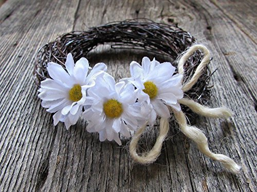 White Daisy Twig Candle Ring Wreath for Pillars Votives- Easter Table Centerpiece- 3 Sizes Available (Daisy Votive Holders)