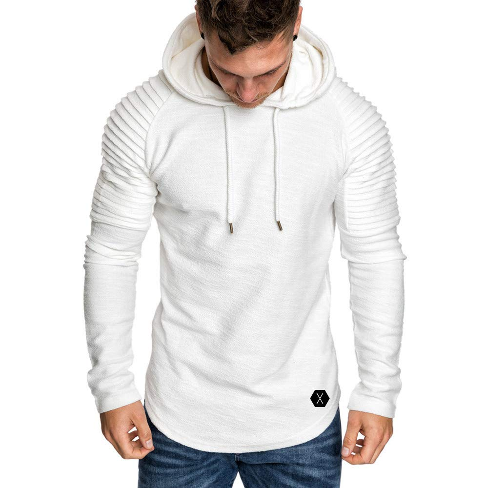 Men's Casual Long Sleeve Pleats Slim-Fit Raglan Pullover Hoodie Shirt Outwear Sweater (White, L) by Kinrui Men's T Shirt&Blouse