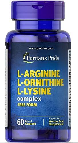 Puritan s Pride L-Arginine L-Ornithine L-Lysine-60 Caplets