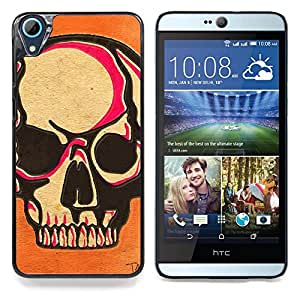 GIFT CHOICE / Teléfono Estuche protector Duro Cáscara Funda Cubierta Caso / Hard Case for HTC Desire 826 // Skull Pink Orange Death Art Biker //