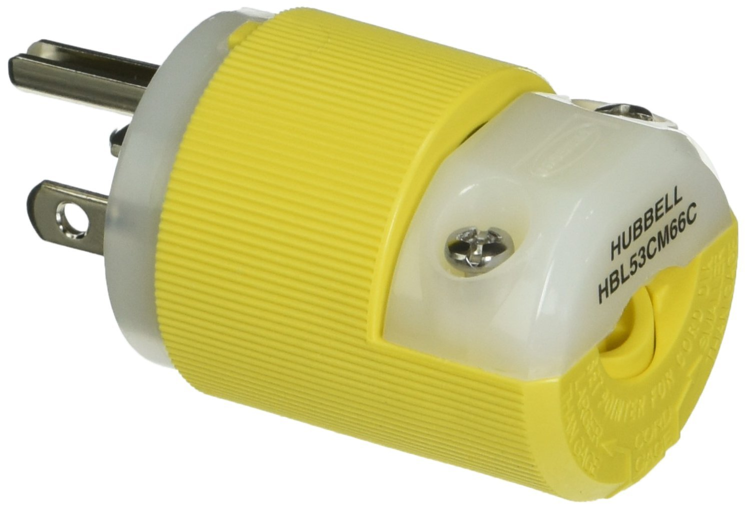 Hubbell Wiring Systems HBL53CM66C Insulgrip Plug with Straight Blade 20A 125V 3 Wire Grounding Yellow 89374 2-Pole