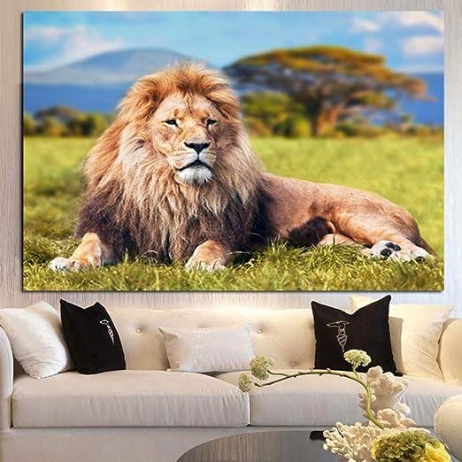 RTCKF Quadro su Tela Stampa murale Elefante Africano Leone ...