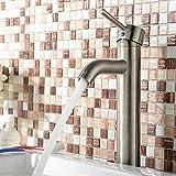 YAJO Modern Curve Spout Bathroom Vessel Sink Tall Faucet, Brushed Nickel by YAJO