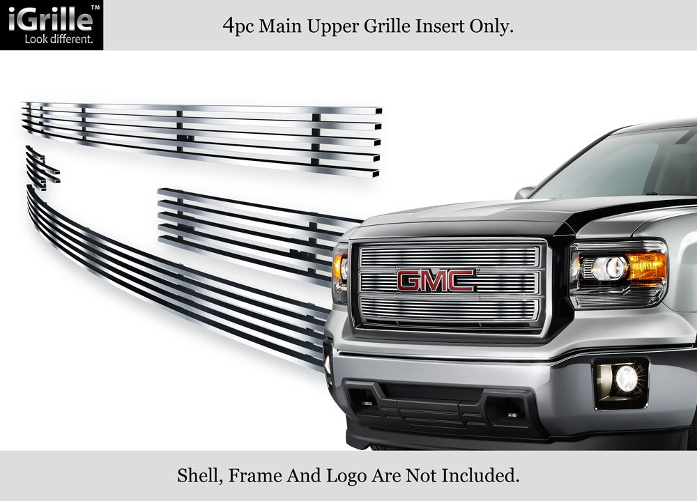 APS Compatible with 2014-2015 GMC Sierra 1500 Main Upper Stainless Steel Black 8X6 Horizontal Billet Grille Insert G65972J