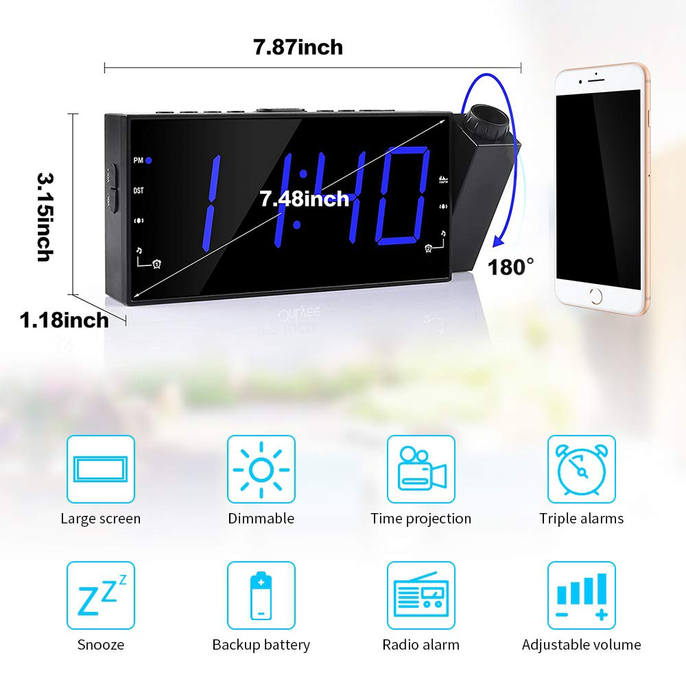 Amazon.com: LZYCL Reloj proyector digital, Am Fm Radio reloj ...